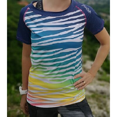 Frei Sein Rainbow Zebra női technikai rövidujjas póló